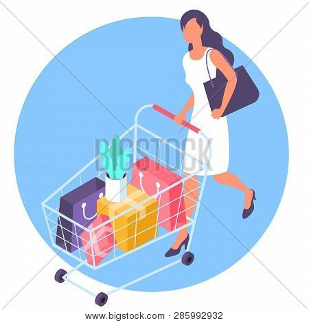 Young  Woman At Shopping With Supermarket Cart. Flat Desin Isometric Vector Illustration Template Co