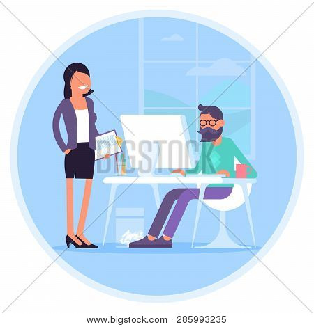 Vector Illustration Of Coworkers Are Communicating In Office. Young Man And Woman In Coworking Open