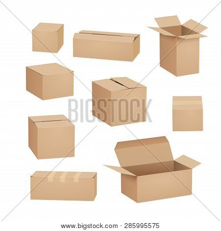 Cardboard Box Carton Package Set. Shipping Delivery Box Mockup Cargo Design Open Cardboard Parcel.