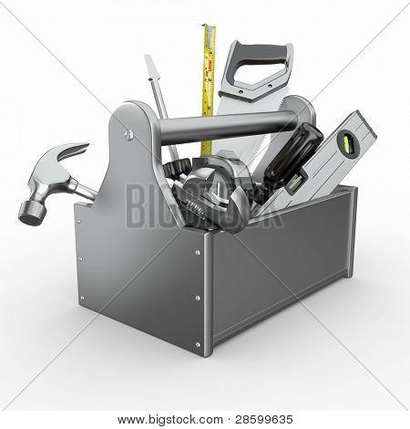 Caixa de ferramentas com ferramentas. Skrewdriver, martelo, serrote e chave. 3D