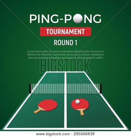 Ping Pont Tennis Tournament Poster Background. Ping Pong Table With Ball Racket Championship Green I