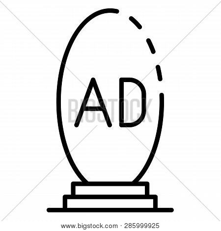 Oval Ad Lightbox Icon. Outline Oval Ad Lightbox Vector Icon For Web Design Isolated On White Backgro