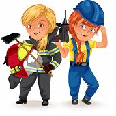 Not female professions, Strong woman heavy professions builders constructor, worker in uniform with helmet ax his arms , hard working girl, feminists worker vector illustration poster