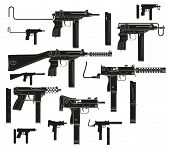Graphic black and white detailed silhouette modern submachine guns with ammo clip. Isolated on white background. Vector icon set. poster