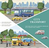 Flat city transport template with bus ambulance police taxi cars road sweeper tow truck evacuating automobile vector illustration poster