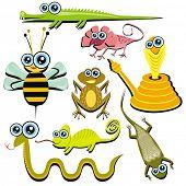 VECTOR - Family of Funny Cartoon Reptile Animals - ( Snake, Chameleon, Cobra, Bee, Crocodile, Frog, Lizard, Gecko) poster