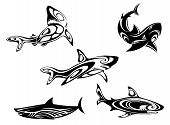 Set of shark tattoos in tribal style isolated on white background poster