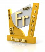 Francium form Periodic Table of Elements - 3d made poster