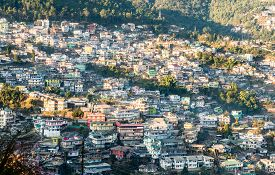Cityscape With Buildings And Homes Along The Hillside In Kohima, Nagaland, India