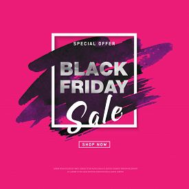 Black Friday Sale Banner With Watercolor Stroke For Trendy Abstract Cover. Banner With Editable Spac