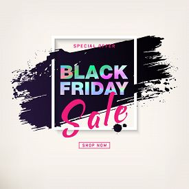 Black Friday Sale Poster With Silver Text. Modern Concept For Cover Design. Sale Discount Banner. Ad