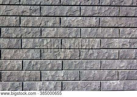 Grey Wall Tiles Imitating Brickwork. Modern Finishing Material. Gray Facade Facing Tiles, Imitating