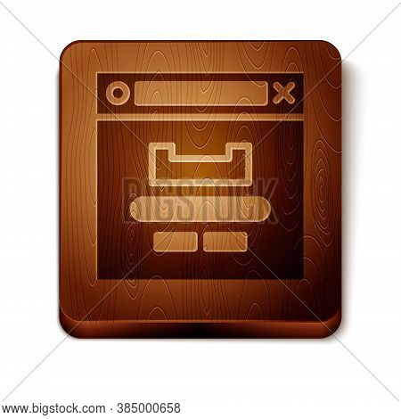 Brown Browser Window Icon Isolated On White Background. Wooden Square Button. Vector Illustration