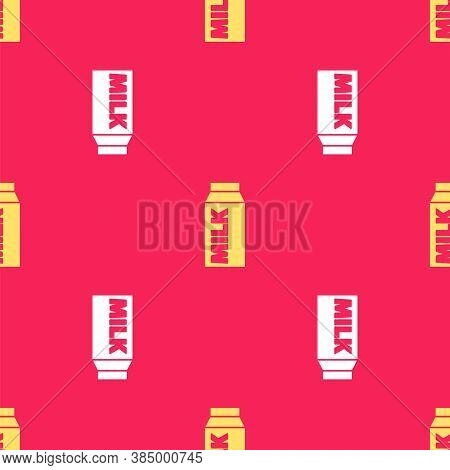 Yellow Paper Package For Milk Icon Isolated Seamless Pattern On Red Background. Milk Packet Sign. Ve