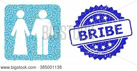 Bribe Unclean Stamp And Vector Recursive Mosaic Married Groom And Bribe. Blue Stamp Contains Bribe T