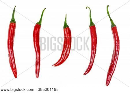 Top View Of Fresh Red Hot Chilli Pepper Flat Lay Set Collection Isolated On A White Background.