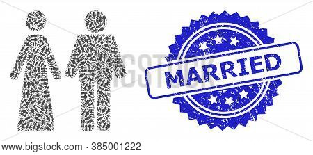 Married Textured Stamp Seal And Vector Recursive Collage Married Groom And Bribe. Blue Stamp Contain