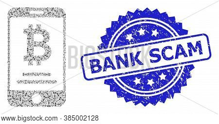 Bank Scam Scratched Seal And Vector Recursion Collage Mobile Bitcoin Account. Blue Seal Has Bank Sca