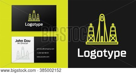 Logotype Line Rocket Launch From The Spaceport Icon Isolated On Black Background. Launch Rocket In S