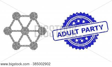 Adult Party Rubber Stamp Seal And Vector Recursive Collage Node Connections. Blue Stamp Seal Has Adu