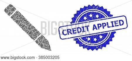 Credit Applied Corroded Seal Imitation And Vector Recursive Collage Pencil. Blue Stamp Seal Includes
