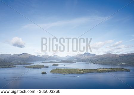 Loch Lomond Aerial View From High Above Scotland