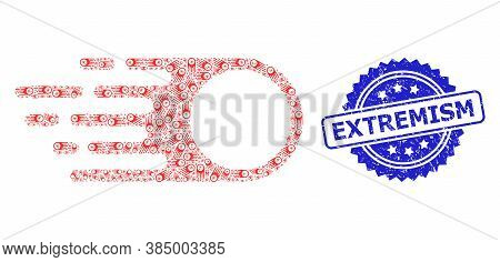 Extremism Unclean Stamp Seal And Vector Recursive Collage Photon Flight. Blue Stamp Seal Has Extremi