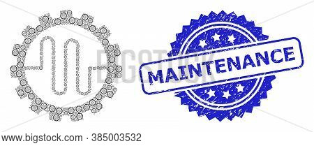 Maintenance Grunge Stamp And Vector Fractal Collage Pipe Service Cog. Blue Stamp Seal Has Maintenanc