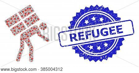 Refugee Rubber Seal Imitation And Vector Fractal Mosaic Refugee. Blue Stamp Seal Contains Refugee Te