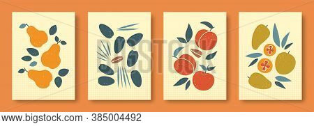 Vector Illustration Abstract Still Life Of Fruits In Pastel Colors. Collection Of Contemporary Art.