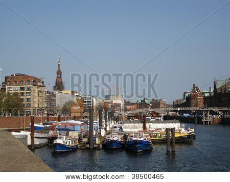 Boats on the Elbe at Hamburg