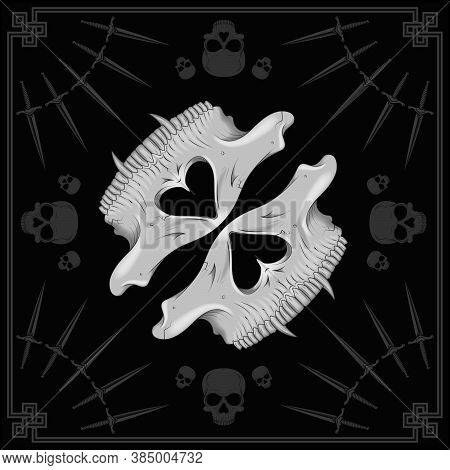 Vector Design Of Scarf With Half Skull Pattern And Daggers With Gray Lines, To Use As Mask, Cover Vo