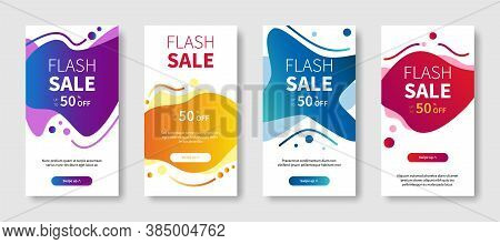 Flash Sale Vector Symbol Set. Dynamic Modern Abstract Background For Mobile Phones, Banners, Liquid