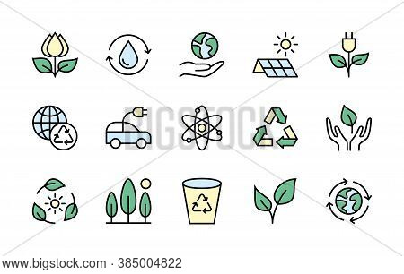 Eco Friendly And Alternative Energy Sources Vector Linear Icons Simple Set Colored. Linear Ecology I