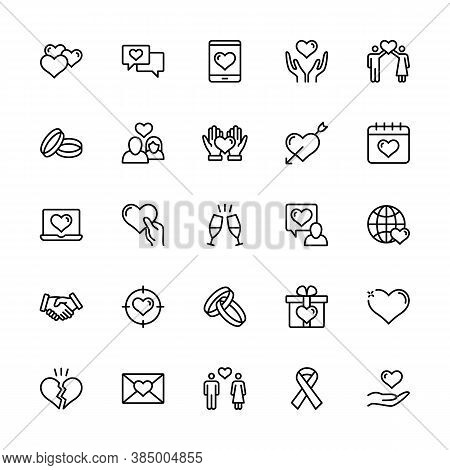 Simple Set Romance Vector Linear Icons. Love And Heart, Wedding Ring, Romantic Letter, Happy Couple,