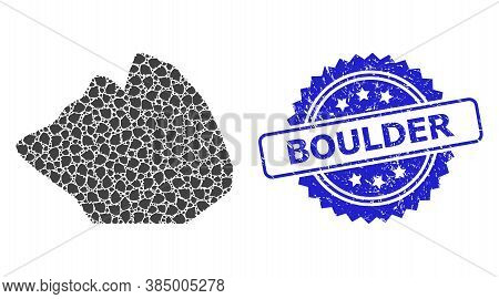 Boulder Corroded Stamp And Vector Recursion Collage Rock Stone. Blue Stamp Includes Boulder Text Ins