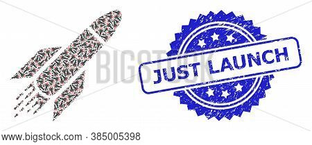 Just Launch Unclean Seal Print And Vector Recursive Mosaic Rocket. Blue Seal Includes Just Launch Te