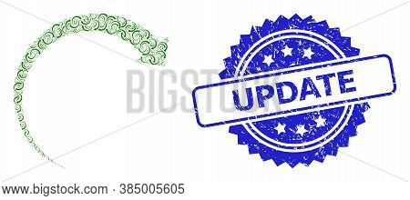 Update Rubber Stamp Seal And Vector Recursive Collage Rotate Forward. Blue Stamp Seal Contains Updat