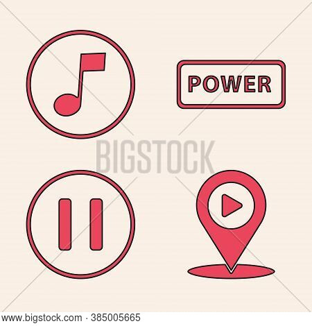 Set Digital Media Play With Location, Music Note, Tone, Power Button And Pause Button Icon. Vector