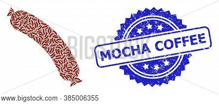 Mocha Coffee Scratched Seal Imitation And Vector Fractal Composition Sausage. Blue Seal Has Mocha Co
