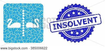 Insolvent Dirty Stamp Seal And Vector Recursive Mosaic Separate Swans. Blue Stamp Seal Includes Inso