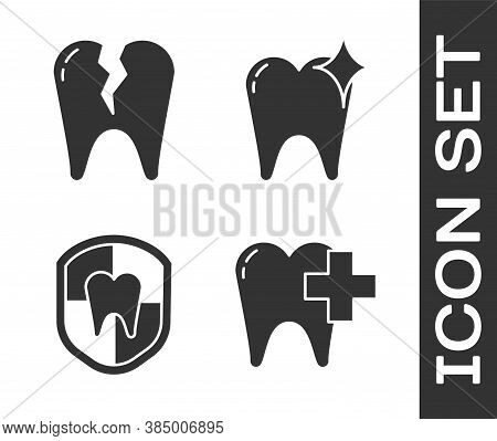 Set Dental Clinic For Dental Care Tooth, Broken Tooth, Dental Protection And Tooth Whitening Concept