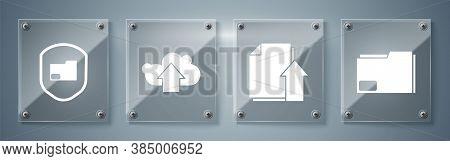 Set Document Folder, Upload File Document, Cloud Upload And Document Folder Protection. Square Glass