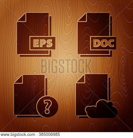 Set Cloud Storage Text Document, Eps File Document, Unknown Document And Doc File Document On Wooden