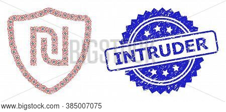 Intruder Rubber Seal And Vector Recursive Collage Shekel Shield. Blue Stamp Seal Contains Intruder T