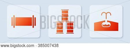 Set Barrel Oil, Industry Pipe And Oilfield. White Square Button. Vector