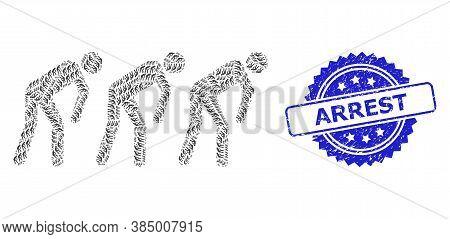 Arrest Grunge Stamp Seal And Vector Recursive Collage Slave People. Blue Stamp Includes Arrest Tag I