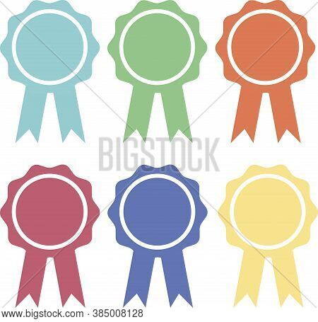 Approved Or Certified Medal Icon. Winner Award Emblem Symbol. Vector Illustration. Collection Of Awa