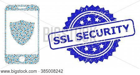 Ssl Security Scratched Stamp Seal And Vector Recursive Mosaic Smartphone Shield. Blue Stamp Seal Has