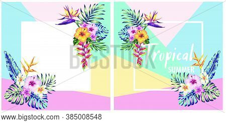 Tropical Collection With Exotic Flowers And Palm Leaves Design, Background - Design Template For Pos
